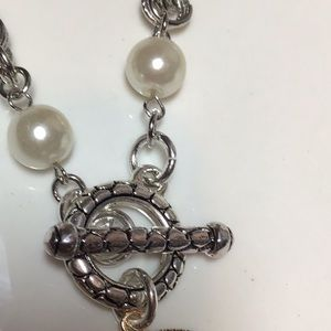 CHANEL Jewelry - Pearl Authentic CC button toggle necklace.